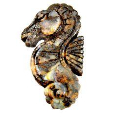 Natural 29.35cts boulder opal carving brown 35x16 mm fancy loose gemstone s16328