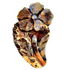 Natural 26.30cts boulder opal carving brown 38x21 mm fancy loose gemstone s16327
