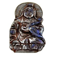 Natural 50.10cts boulder opal carving brown 40x26 mm fancy loose gemstone s16339