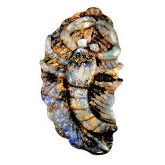 Natural 43.40cts boulder opal carving brown 43x22 mm fancy loose gemstone s16321