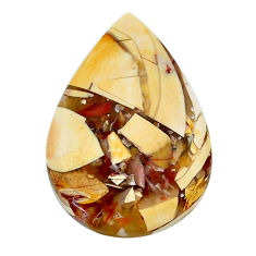 Natural 12.35cts brecciated mookaite yellow 25x17 mm pear loose gemstone s24446