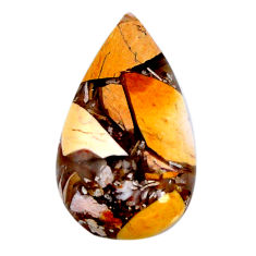 Natural 14.45cts brecciated mookaite yellow 27x16 mm pear loose gemstone s19855