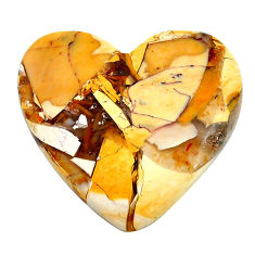 Natural 20.05cts brecciated mookaite yellow 27x25 mm heart loose gemstone s24460