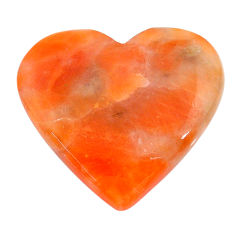 Natural 35.10cts calcite orange cabochon 30x27 mm heart loose gemstone s24576