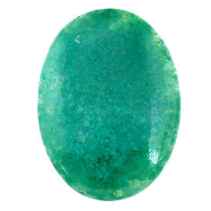 Natural 33.45cts chalcedony green cabochon 35x25 mm oval loose gemstone s20595