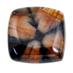 Natural 22.35cts chiastolite brown cabochon 18x18 mm loose gemstone s19264