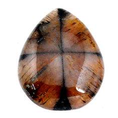 Natural 18.10cts chiastolite brown cabochon 22x17.5mm pear loose gemstone s19274