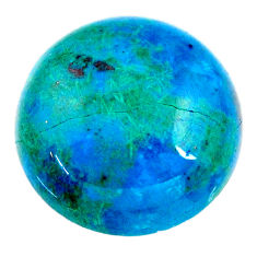 Natural 22.40cts chrysocolla green cabochon 20x20 mm round loose gemstone s21244