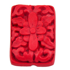 Natural 6.30cts cinnabar spanish red carving 24x16.5 mm loose gemstone s18346