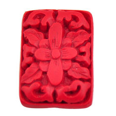 Natural 7.40cts cinnabar spanish red carving 24x16.5 mm loose gemstone s18349