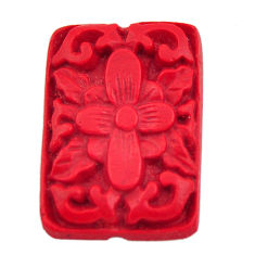 Natural 6.30cts cinnabar spanish red carving 24x16.5 mm loose gemstone s18354