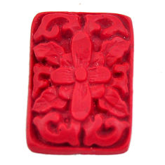 Natural 6.30cts cinnabar spanish red carving 24x17 mm loose gemstone s18345