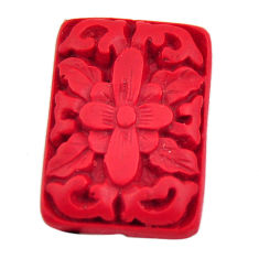 Natural 6.30cts cinnabar spanish red carving 24x17 mm loose gemstone s18352