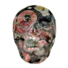 Natural 14.35cts crinoid fossil black 22.5x15 mm skull loose gemstone s18070