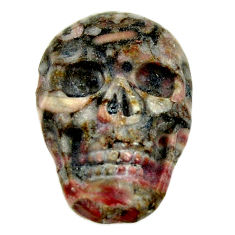 Natural 14.30cts crinoid fossil black 22.5x15.5 mm skull loose gemstone s18072