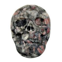 Natural 14.20cts crinoid fossil black 22.5x15.5 mm skull loose gemstone s18079