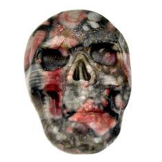 Natural 14.35cts crinoid fossil black 22.5x15mm skull loose gemstone s18063