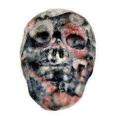 Natural 15.15cts crinoid fossil black 22.5x15mm skull loose gemstone s18064