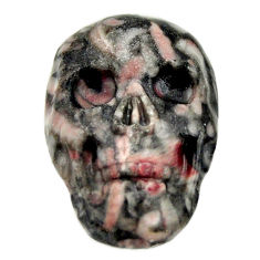 Natural 15.15cts crinoid fossil black 22.5x15mm skull loose gemstone s18067