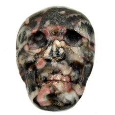 Natural 14.20cts crinoid fossil black 23x15.5 mm skull loose gemstone s18078