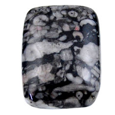 Natural 25.15cts crinoid fossil black cabochon 25x18 mm loose gemstone s19076