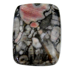 Natural 24.35cts crinoid fossil black cabochon 25x18 mm loose gemstone s19079