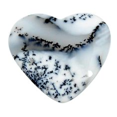 Natural 14.35cts dendrite opal (merlinite) white 24x22.5mm loose gemstone s18679