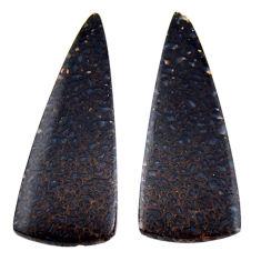 Natural 17.40cts dinosaur bone fossilized 33.5x12 mm pair loose gemstone s19123
