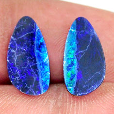 Natural 4.05cts doublet opal australian blue 13.5x7mm pair loose gemstone s16645