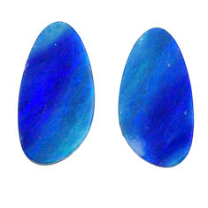 Natural 3.10cts doublet opal australian blue 13x5.5 mm loose gemstone s20195
