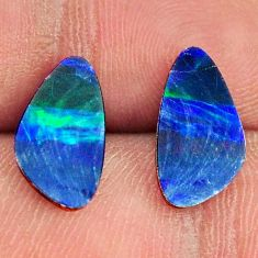 Natural 3.15cts doublet opal australian blue 13x7 mm pair loose gemstone s16622