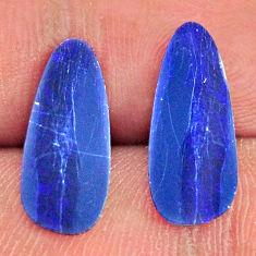 Natural doublet opal australian blue 15.5x6.5 mm pair loose gemstone s16647