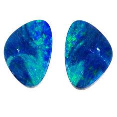 Natural 4.35cts doublet opal australian blue 15x6 mm fancy loose gemstone s20190