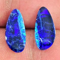 Natural 6.30cts doublet opal australian blue 15x7 mm pair loose gemstone s16646