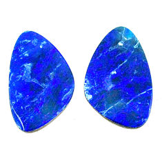 Natural 9.45cts doublet opal australian blue 17x10 mm pair loose gemstone s22201