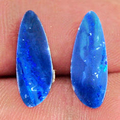 Natural 5.10cts doublet opal australian blue 17x6 mm pair loose gemstone s16654