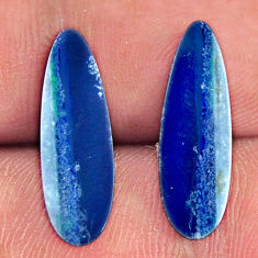 Natural 6.25cts doublet opal australian blue 18.5x6mm pair loose gemstone s16656