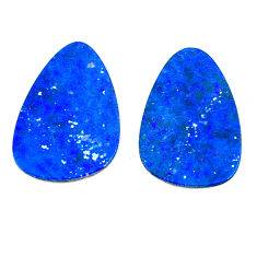 Natural 11.30cts doublet opal australian blue 18x12mm pair loose gemstone s22203