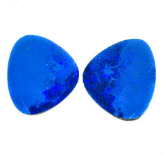 Natural 14.35cts doublet opal australian blue 18x15mm pair loose gemstone s22202