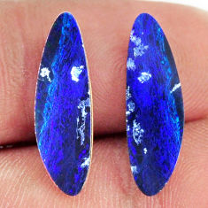Natural 5.15cts doublet opal australian blue 20x6 mm pair loose gemstone s16669