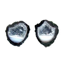 Natural 8.10cts geode druzy black 12.5x11 mm fancy pair loose gemstone s16483