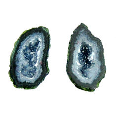 Natural 4.45cts geode druzy black 12.5x7 mm fancy pair loose gemstone s16525