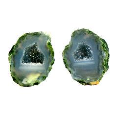 Natural 6.30cts geode druzy black 12x10 mm fancy pair loose gemstone s16531