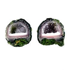Natural 10.10cts geode druzy black 12x11 mm fancy pair loose gemstone s16482