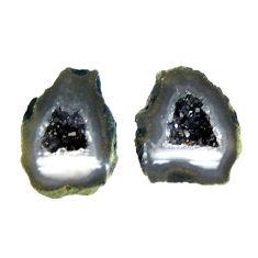 Natural 9.35cts geode druzy black 13.5x11 mm fancy pair loose gemstone s16507