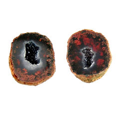 Natural 11.20cts geode druzy black 13.5x11 mm fancy pair loose gemstone s16512