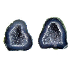 Natural 11.30cts geode druzy black 13.5x13 mm fancy pair loose gemstone s16508