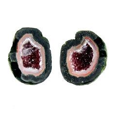 Natural 9.20cts geode druzy black 13x11 mm fancy pair loose gemstone s16504
