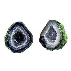 Natural 10.10cts geode druzy black 13x12 mm fancy pair loose gemstone s16515