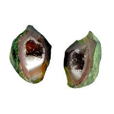Natural 8.40cts geode druzy black 14x10 mm fancy pair loose gemstone s16491